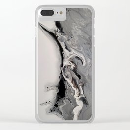 Silver Streak - Fluid Acrylic Abstract Flow Painting Clear iPhone Case