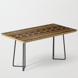 Ethnic African Golden Pattern on brown Coffee Table