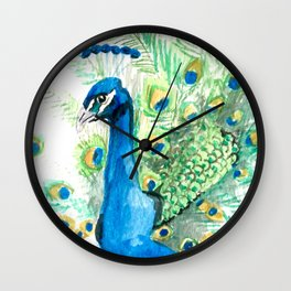Flaunting his feathers Wall Clock