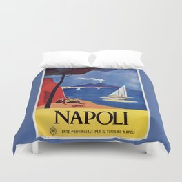 Napels Italy retro vintage travel ad Duvet Cover