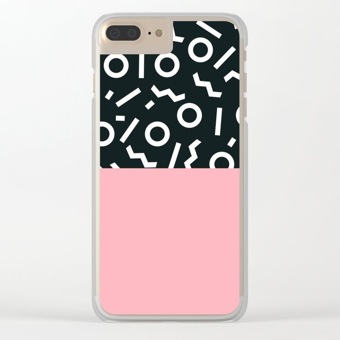 Memphis pattern 50 Clear iPhone Case