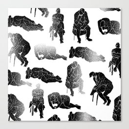 b&w fading figures Canvas Print