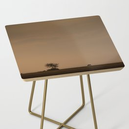 Lone wildebeest grazing in South Africa at sunset Side Table