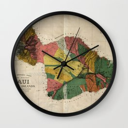 Vintage Map of Maui Hawaii (1885) Wall Clock