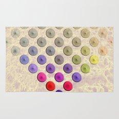 Vibrant button polka dots on texture Rug