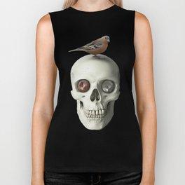 Skull & bird, watercolor Biker Tank