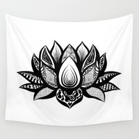ornate Wall Tapestries featuring Ornate Lotus by ZantosDesign