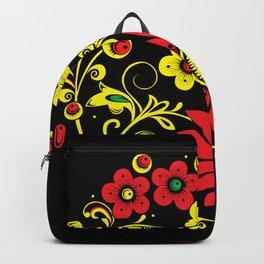 Black floral hohloma Backpack