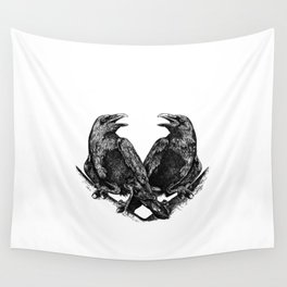 Odins Ravens Huginn and Muninn Wall Tapestry