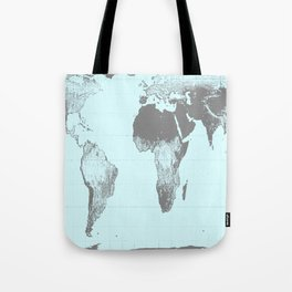 World Map : Gall Peters Aqua Tote Bag