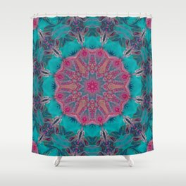 Pink Turquoise Kaleidoscope Mandala - Abstract Art by Fluid Nature Shower Curtain