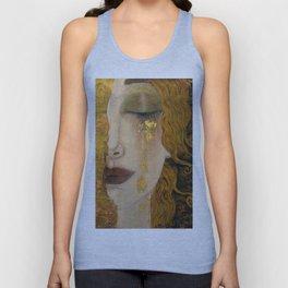 Golden Tears (Freya's Heartache) portrait painting by Gustav Klimt Unisex Tank Top