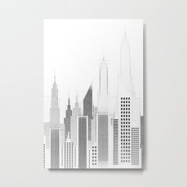 Modern City Buildings And Skyscrapers Sketch, New York Skyline, Wall Art Poster Decor, New York City Metal Print