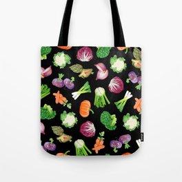 Black veggies pattern | Vegetables illustration pattern Tote Bag