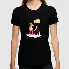 party animals - english fox Womens Fitted Tee Black SMALL