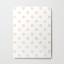 Polka Dots - Champagne Orange on White Metal Print