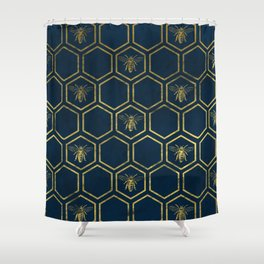 Honey Bee in Navy and Gold Shower Curtain