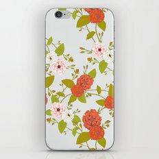 Climbing Roses, Crimson, Green, Pink and Grey iPhone Skin