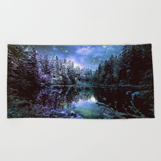 Mystical Winter Forest Beach Towel
