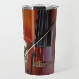 Cello with Bow a Stringed Instrument with Classical Sheet Music Travel Mug