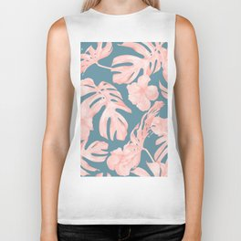 Tropical Palm Leaves and Hibiscus Pink Teal Blue Biker Tank