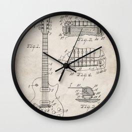 Gibson Guitar Patent - Les Paul Guitar Art - Antique Wall Clock