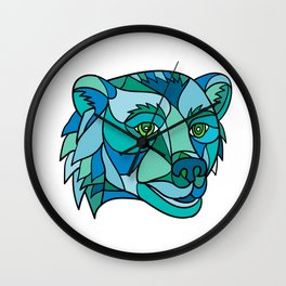 Grizzly Bear Head Mosaic Wall Clock
