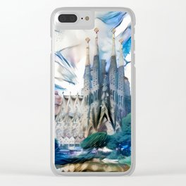 Blue & White Surreal Sagrada Família Clear iPhone Case