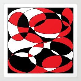 Black, white and red ellipticals Art Print