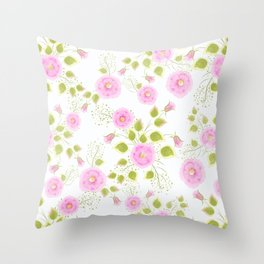 Pink flowers on a white background Throw Pillow