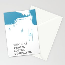 SKI RACING - WINNERS TRAIN LOSERS COMPLAIN - BLUE Stationery Cards