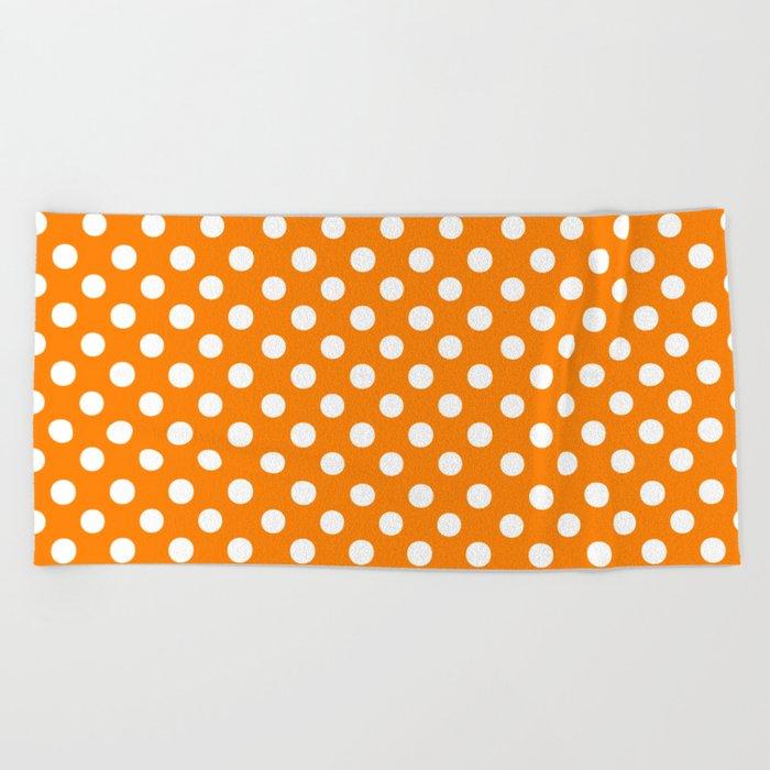 Polka Dots (White/Orange) Beach Towel