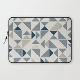 Blue Beige Abstract Striped Triangles Laptop Sleeve