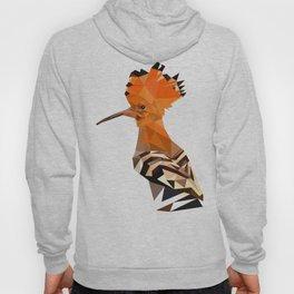 Bird artwork hoopoe geometric, Orange and brown Hoody