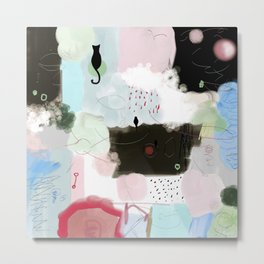 Peinture tons pastels chat oiseau bulles abstrait moderne Metal Print