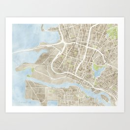 Oakland California Watercolor Map Art Print