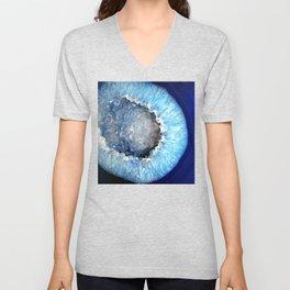 Blue Crystal Geode Unisex V-Neck