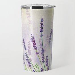 Lavender Flowers Watercolor Travel Mug