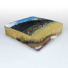 Mountains reflected in the shallow water Outdoor Floor Cushion