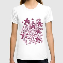 Seaweed, coral and starfish ornament T-shirt