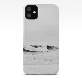 Minimalist Black and White Ocean Wave Photograph iPhone Case