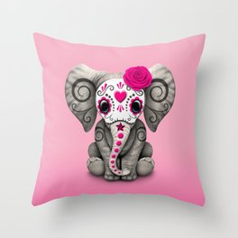 Pink Day of the Dead Sugar Skull Baby Elephant Throw Pillow