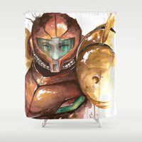 samus Shower Curtains featuring Samus by Alonzo Canto