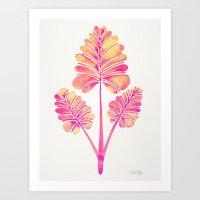 Tropical Palm Leaf Trifecta – Pink Palette Art Print