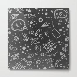 Doodle childish school pattern on blackboard Metal Print