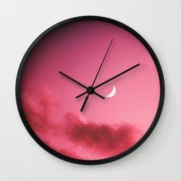 Pink Sky Waxing Crescent Moon Wall Clock