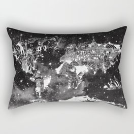 world map galaxy black and white Rectangular Pillow