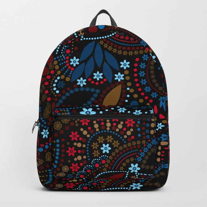 Scattering beads . Black background Country . Backpack