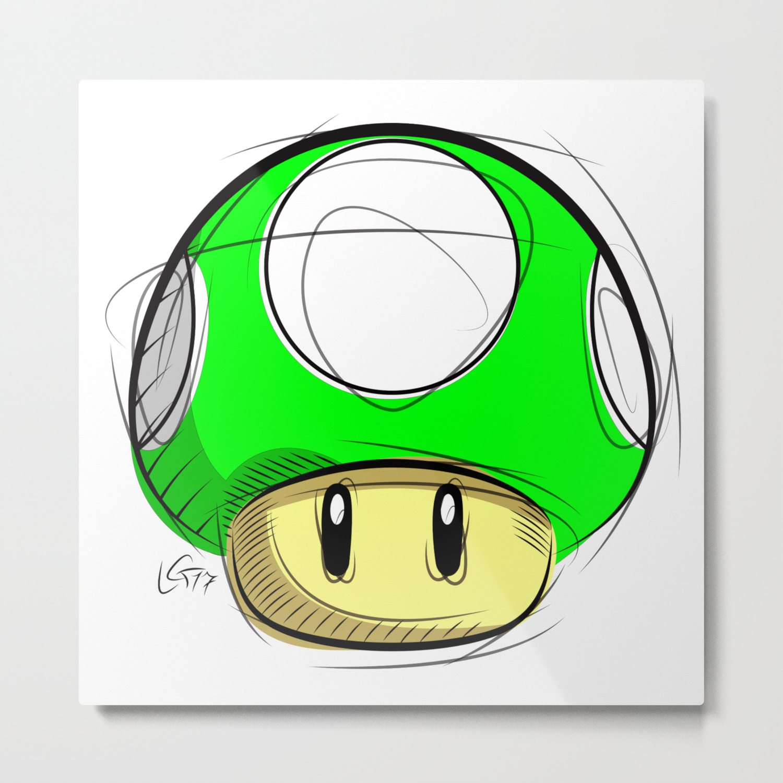 1 Up Mushroom Digital Drawing Games Art Super Mario Nintendo Art Metal Print
