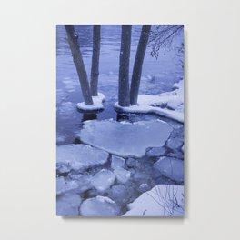 Ice Floes Crash And Creep At Edge Of The Otonabee River. Metal Print